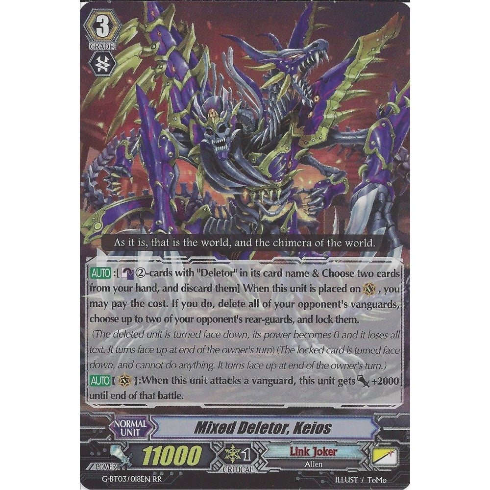 Vanguard Mixed Deletor G-BT03//018EN RR Near Mint Keios 1x Cardfight!