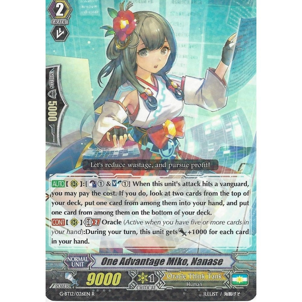 NANASE CARDFIGHT VANGUARD CARD G-BT12//026EN R ONE ADVANTAGE MIKO