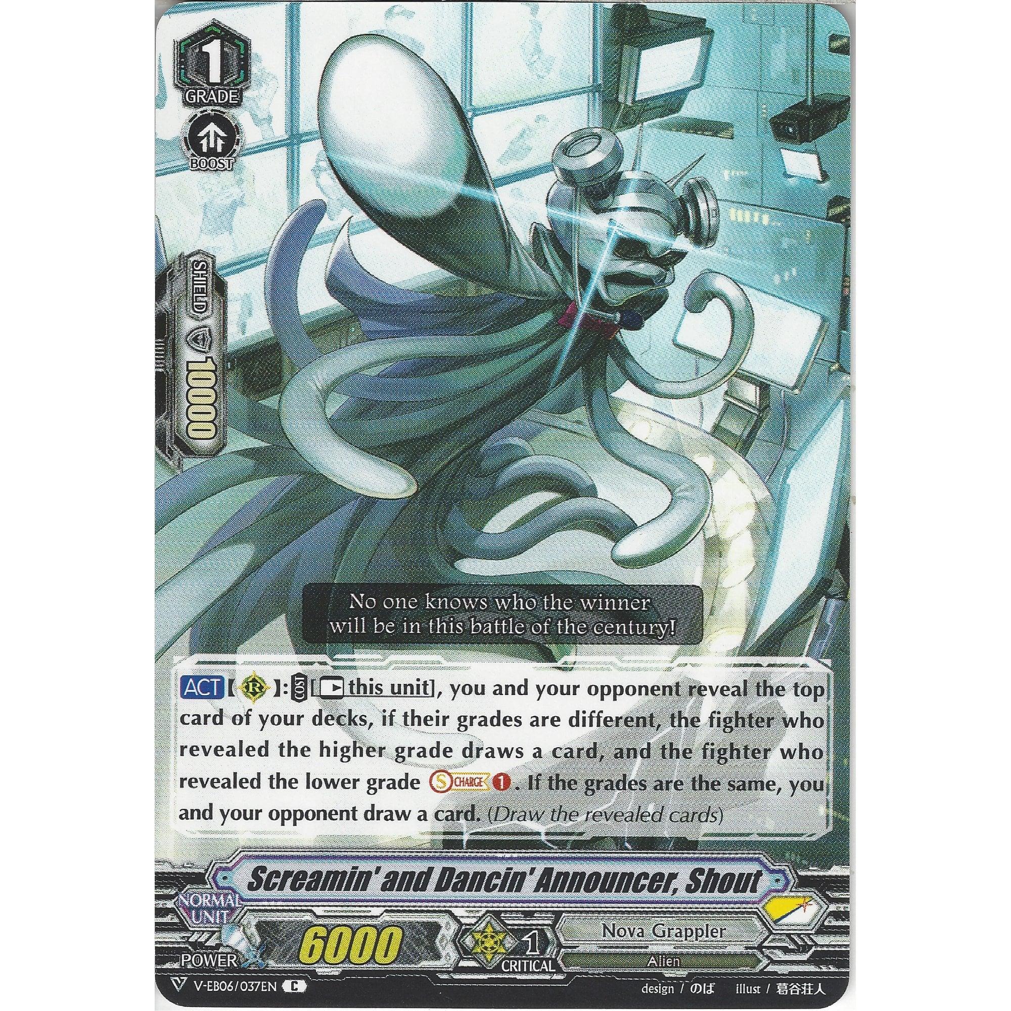 Shout V-EB06//037EN C Common Cardfight Vanguard Screamin/' and Dancin/' Announcer