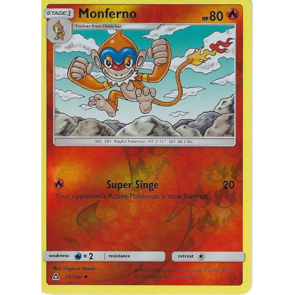 4 x Monferno Ultra Prism 22//156 Uncommon