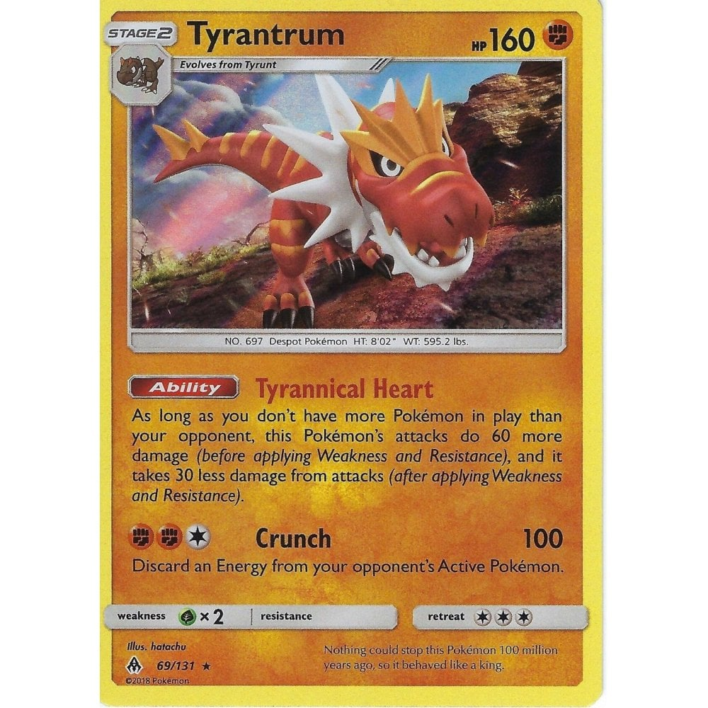 Pokemon Trading Card Game Pokemon Sm Forbidden Light Card Tyrantrum 69 131 Rare Holo