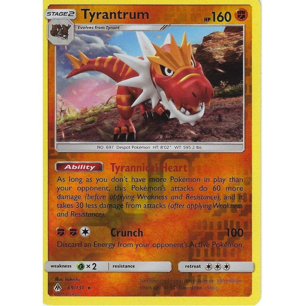 69//131 Pokemon SM Forbidden Light Card Tyrantrum Rare Holo