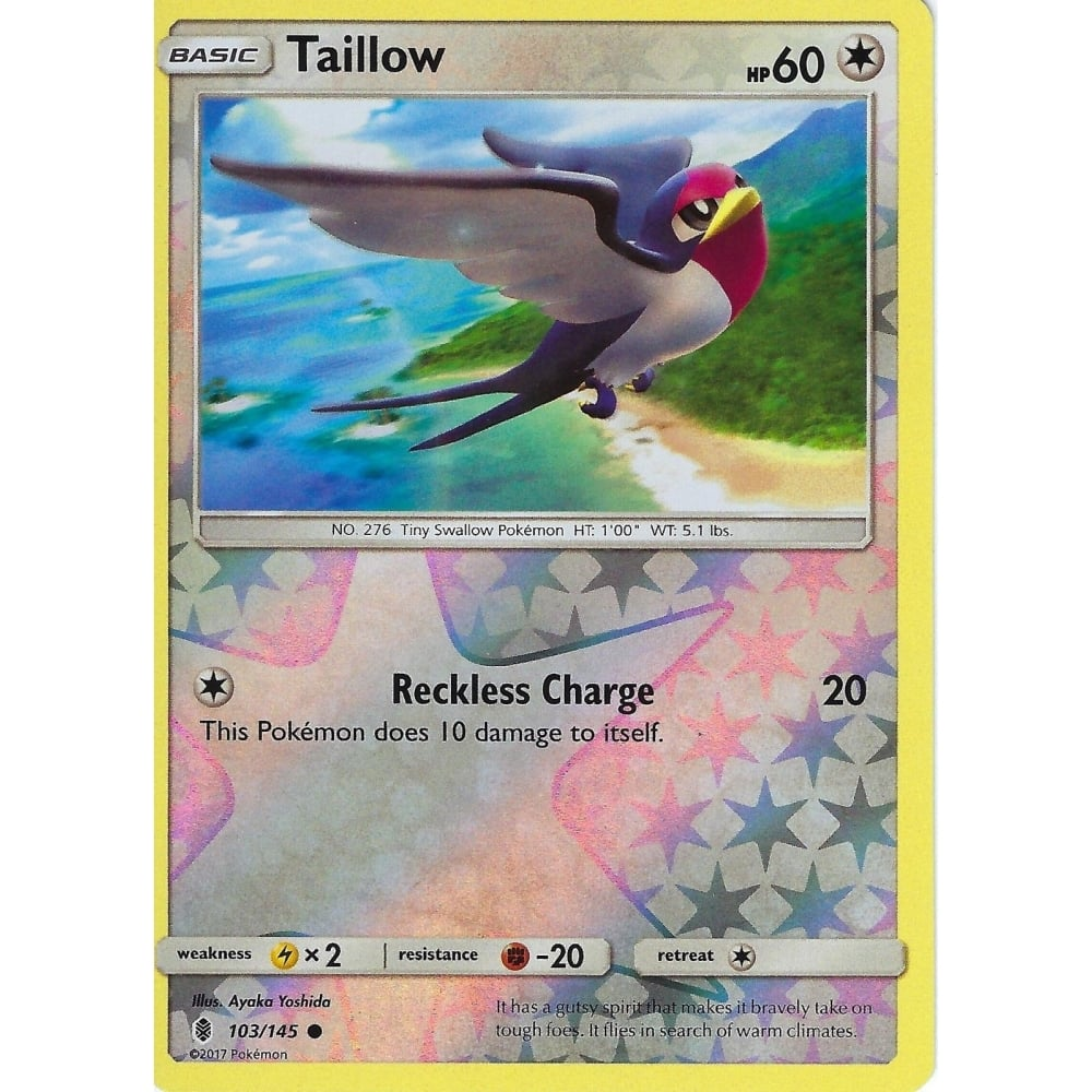 TAILLOW POKEMON SUN /& MOON GUARDIANS RISING CARD REVERSE HOLO 103//145