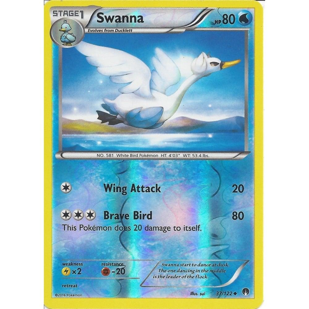 POKEMON CARD XY BREAK-POINT SWANNA 37//122 REV-ERSE HOLO