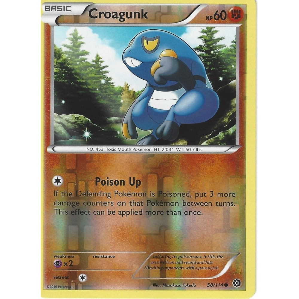 POKEMON XY STEAM SIEGE CARD - CROAGUNK 58/114 REVERSE HOLO