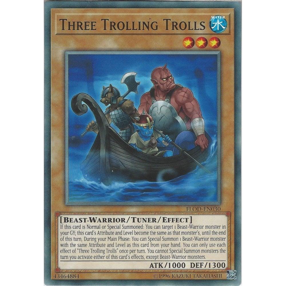 FLOD-EN030 Common 1st Edition Yugioh 3x Three Trolling Trolls